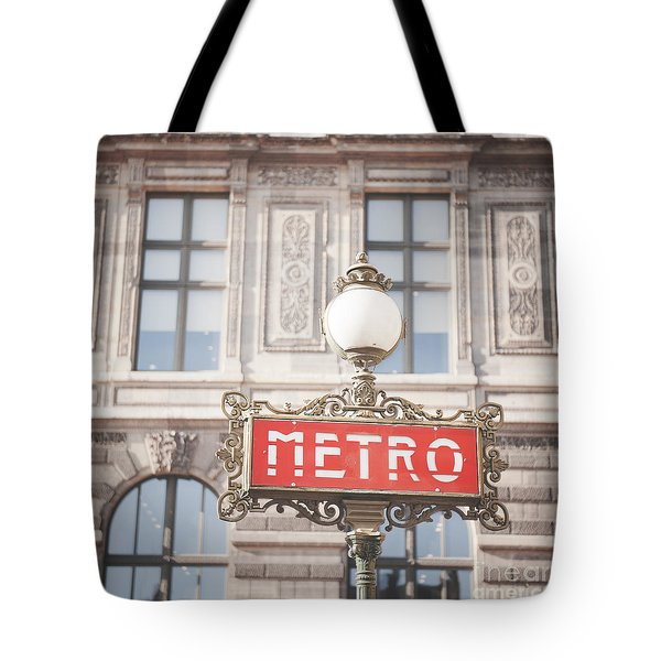 Paris Metro Sign Architecture Tote Bag