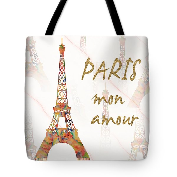 Tote Bag featuring the painting Paris Mon Amour Mixed Media by Georgeta Blanaru