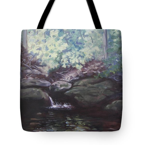 Tote Bag featuring the painting Paris Mountain Waterfall by Robert Decker