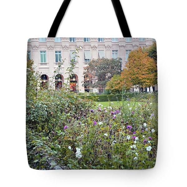 Tote Bag featuring the photograph Paris Palais Royal Gardens - Paris Autumn Fall Gardens Palais Royal Rose Garden - Paris In Bloom by Kathy Fornal
