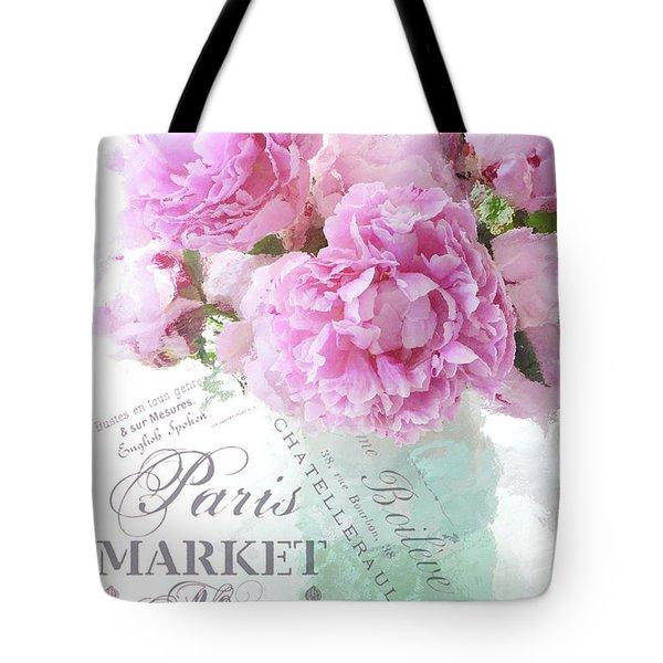 Paris Peonies Impressionistic Romantic Peony Peonies French Script Shabby Chic Decor Tote Bag
