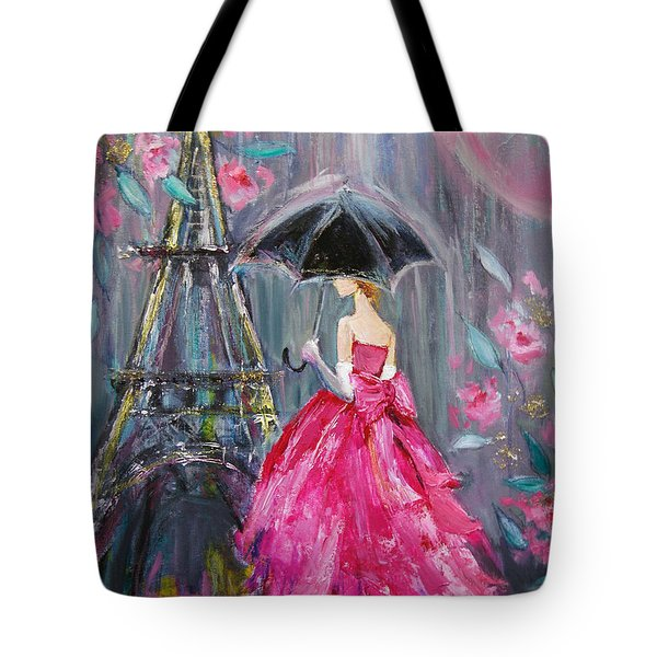 Tote Bag featuring the painting Paris Rain by Jennifer Beaudet