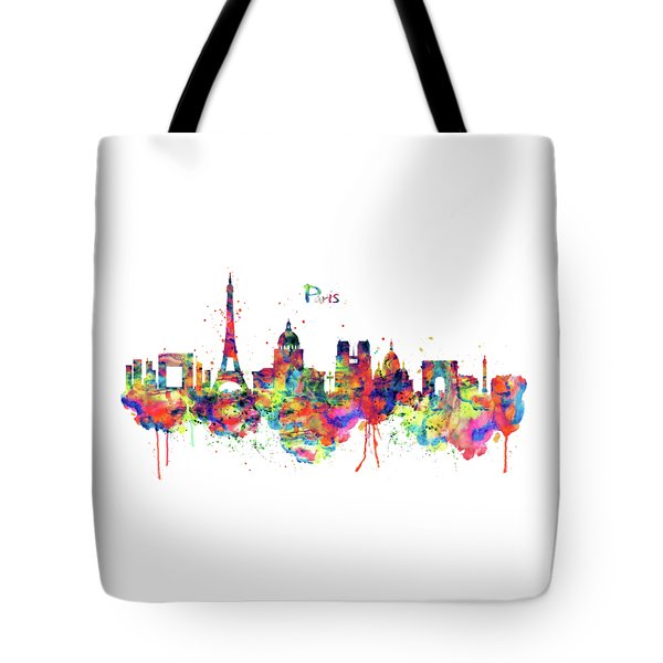 Tote Bag featuring the mixed media Paris Skyline 2 by Marian Voicu
