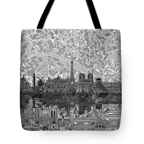 Paris Skyline Black And White Tote Bag