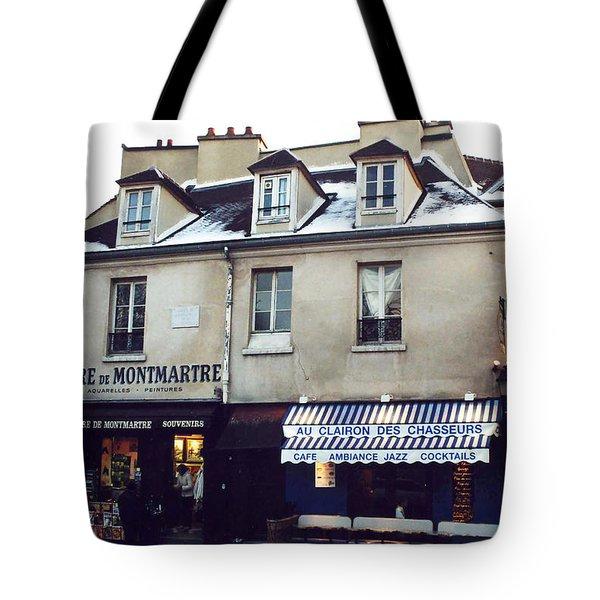 Paris St. Pierre Montmartre Cafe Restaurant Pub Photos - Paris Winter Snow In Montmartre District  Tote Bag