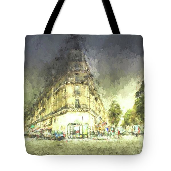 Tote Bag featuring the mixed media Paris Streets by Jim  Hatch