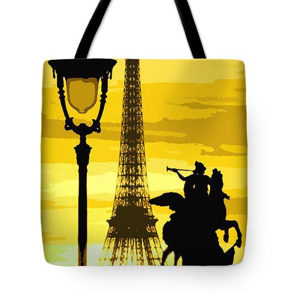 Paris Tour Eiffel Yellow Tote Bag by Yuriy  Shevchuk