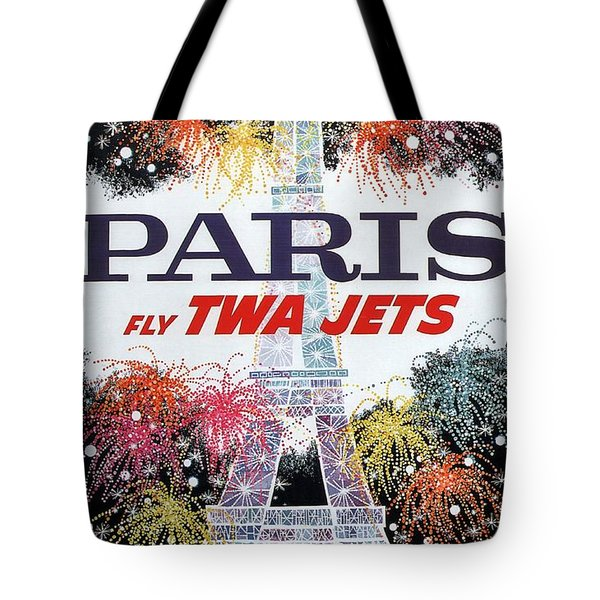 Paris - Twa Jets - Trans World Airlines - Eiffel Tower - Retro Travel Poster - Vintage Poster Tote Bag