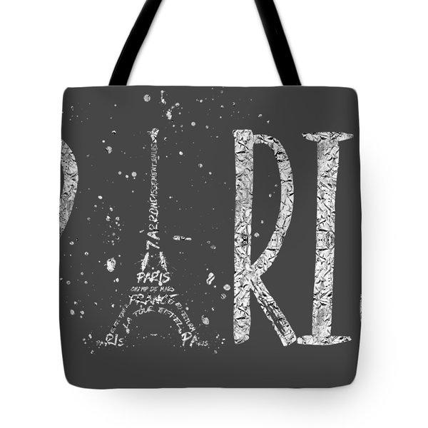 Paris Typography - Grey - Silver Splashes Tote Bag