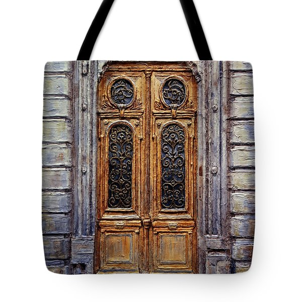 Tote Bag featuring the painting Parisian Door No. 15 by Joey Agbayani