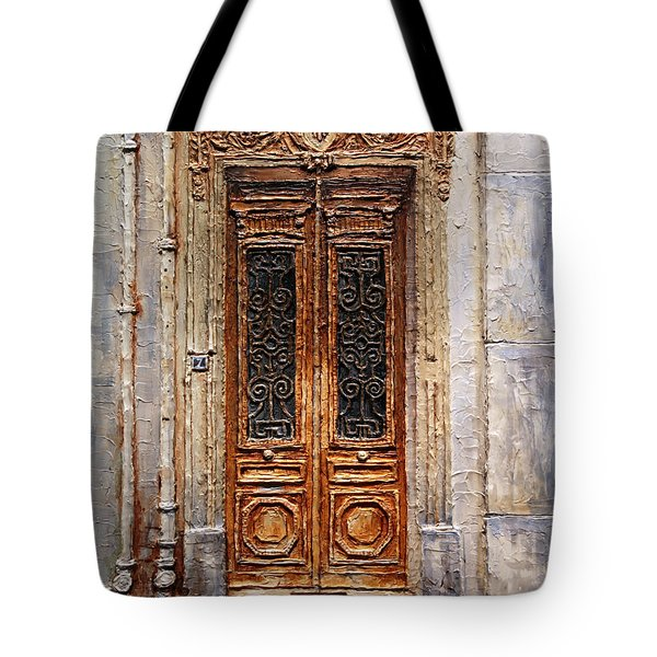 Tote Bag featuring the painting Parisian Door No.7 by Joey Agbayani