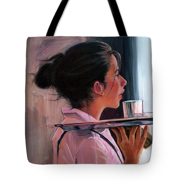 Tote Bag featuring the painting Parisian Waitress by Lesley Spanos