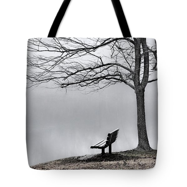 Park Bench And Leafless Tree In Fog - Hi-key Tote Bag