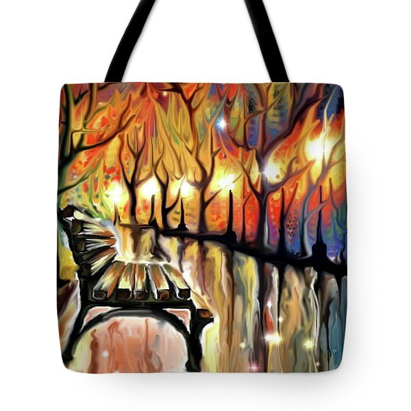 Tote Bag featuring the digital art Park Bench by Darren Cannell