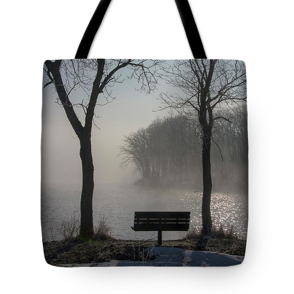 Park Bench In Morning Fog Tote Bag