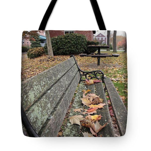Park Bench With Maple Leaves In Autumn Tote Bag
