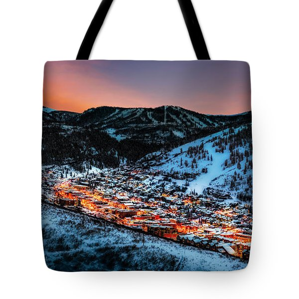 Park City Winter Sunset Tote Bag