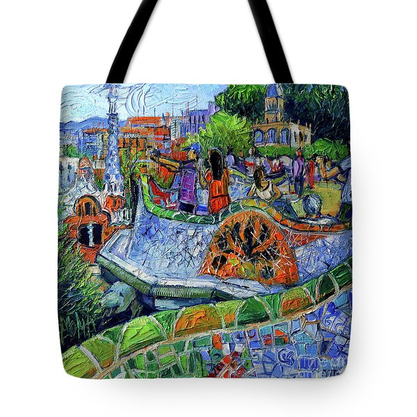 Park Guell Memories - Barcelona Impression Palette Knife Oil Painting Tote Bag