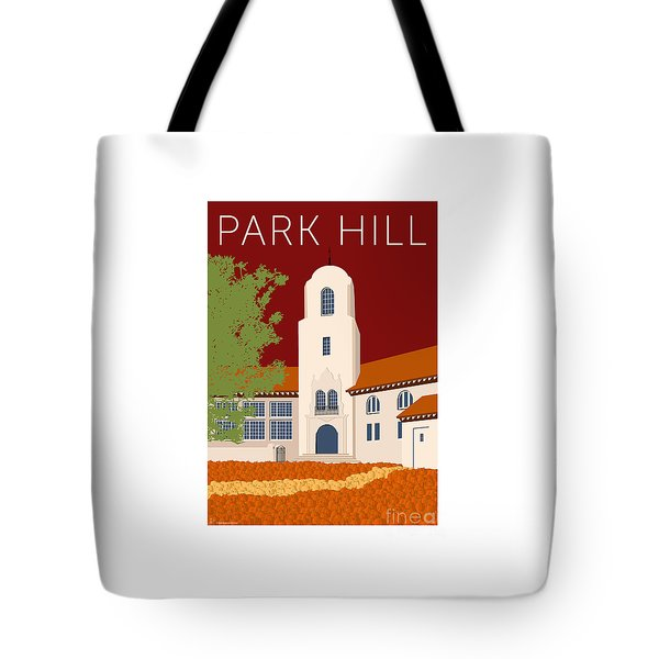 Tote Bag featuring the digital art Park Hill Maroon by Sam Brennan