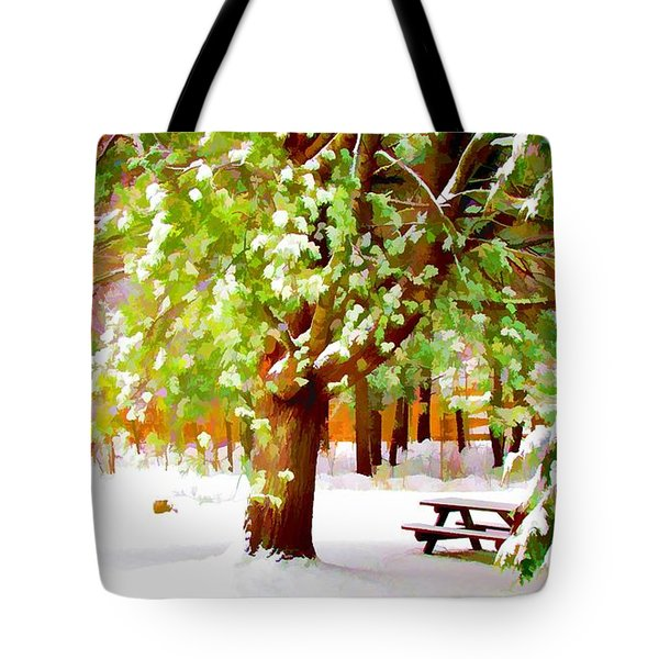 Park In Winter Tote Bag by Lanjee Chee
