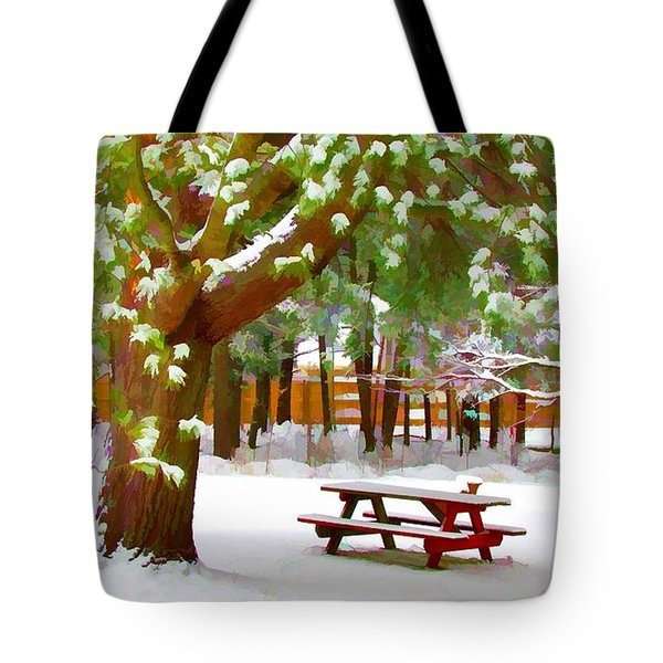 Park In Winter With Snow Tote Bag by Lanjee Chee