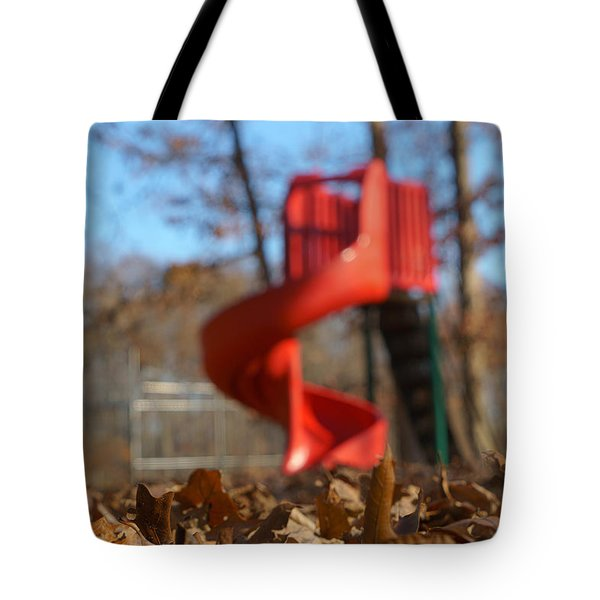 Tote Bag featuring the pyrography Park Slide by Greg Collins