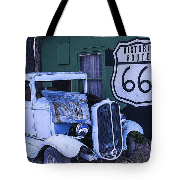 Parked Blue Truck Tote Bag by Garry Gay