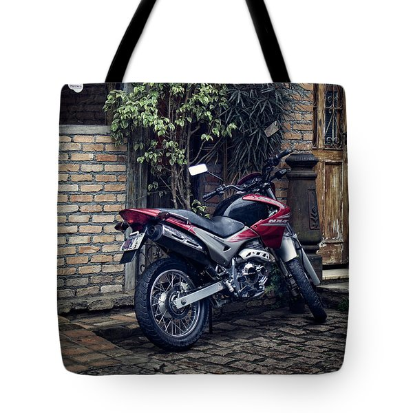 Tote Bag featuring the photograph Parked Motorcycle by Kim Wilson
