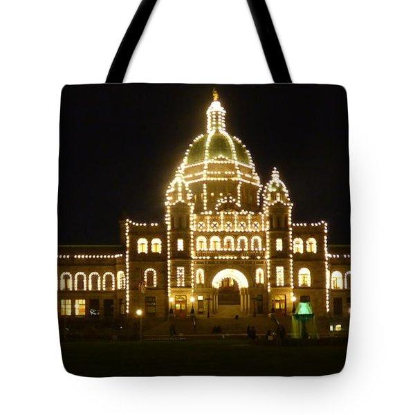 Parliament Building At Night - Victoria British Columbia Tote Bag