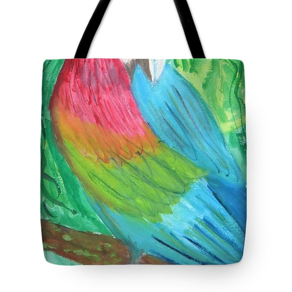 Tote Bag featuring the painting Parrot At Sundy House by Donna Walsh