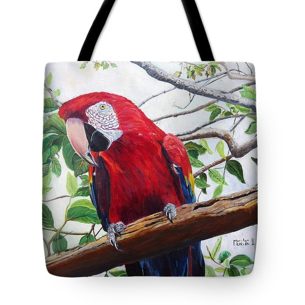 Parrot Portrait Tote Bag by Marilyn  McNish