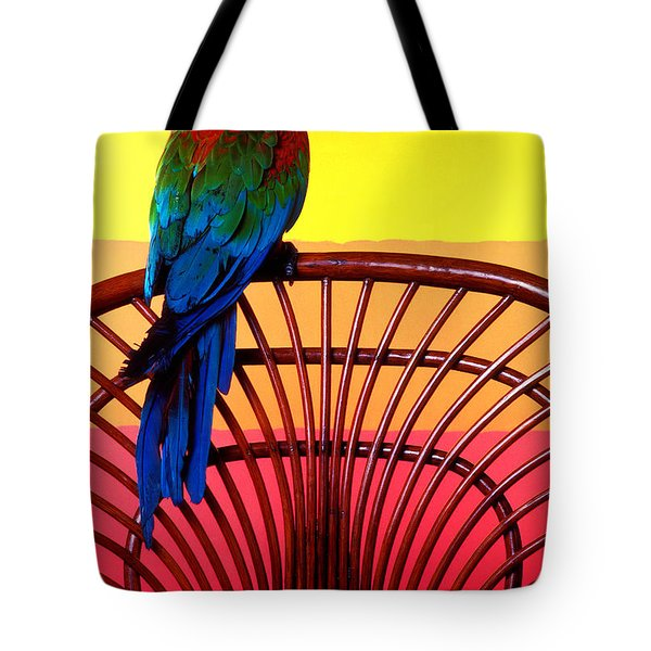 Parrot Sitting On Chair Tote Bag