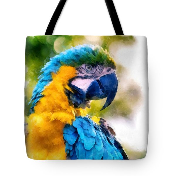Tote Bag featuring the painting Parrot Watercolor by Edward Fielding
