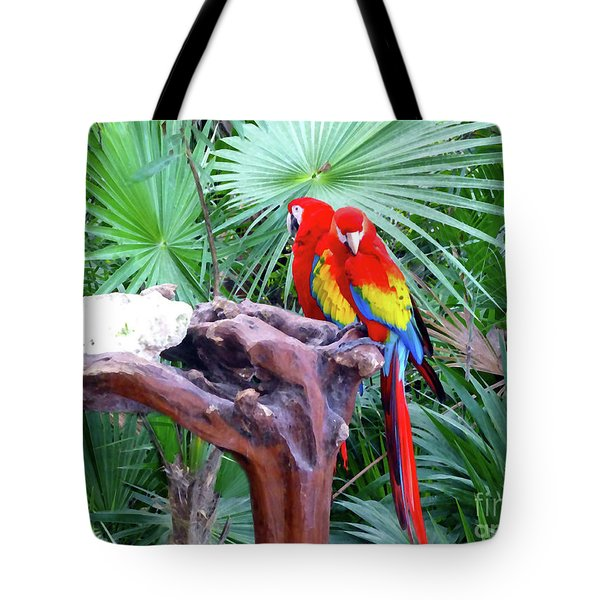 Tote Bag featuring the digital art Parrots by Francesca Mackenney