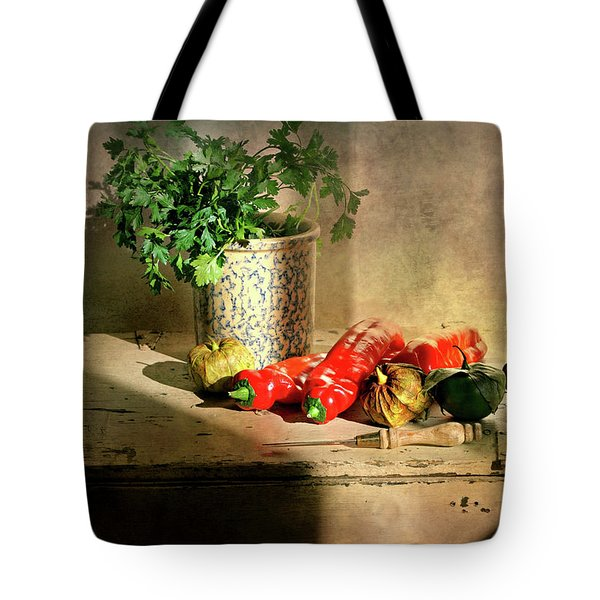 Tote Bag featuring the photograph Parsley And Peppers by Diana Angstadt