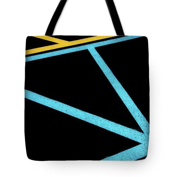 Tote Bag featuring the photograph Partallels And Triangles In Traffic Lines Scene by Gary Slawsky