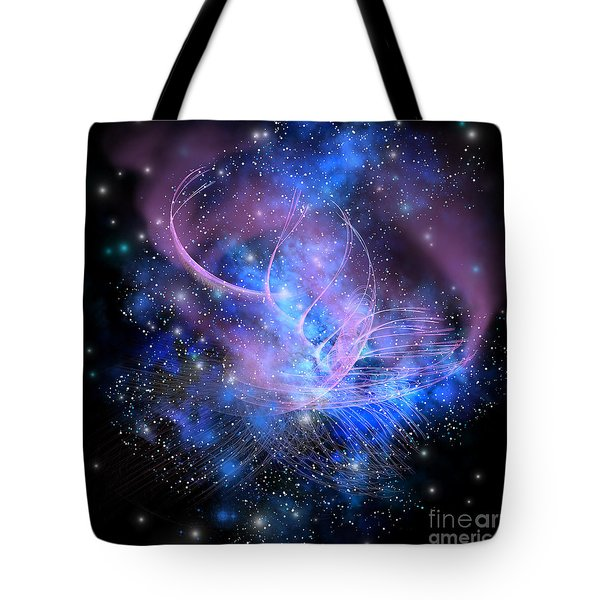 Particle Fountain Tote Bag by Corey Ford