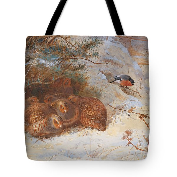 Partridge And A Bullfinch In The Snow  Tote Bag by Archibald Thorburn