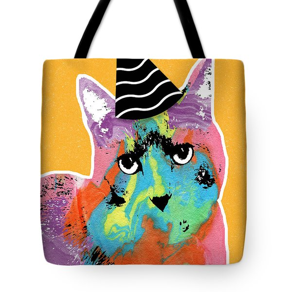 Party Cat- Art By Linda Woods Tote Bag
