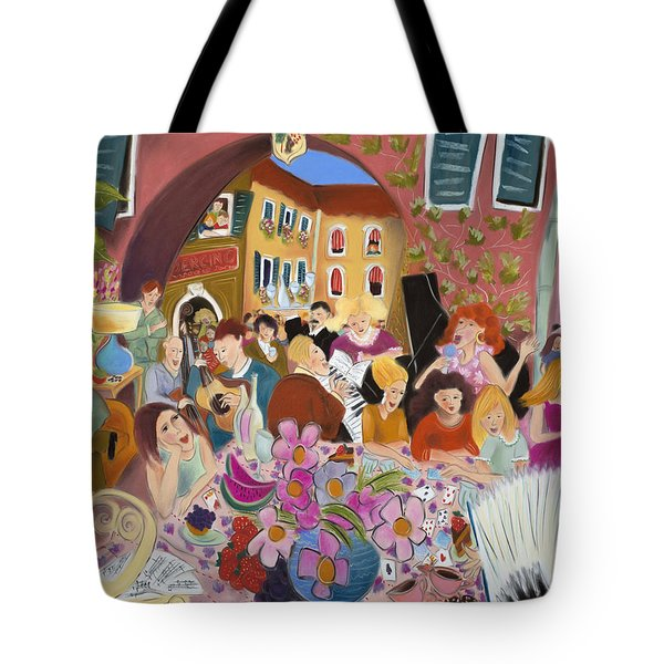 Party In The Courtyard Tote Bag by Tatjana Krizmanic