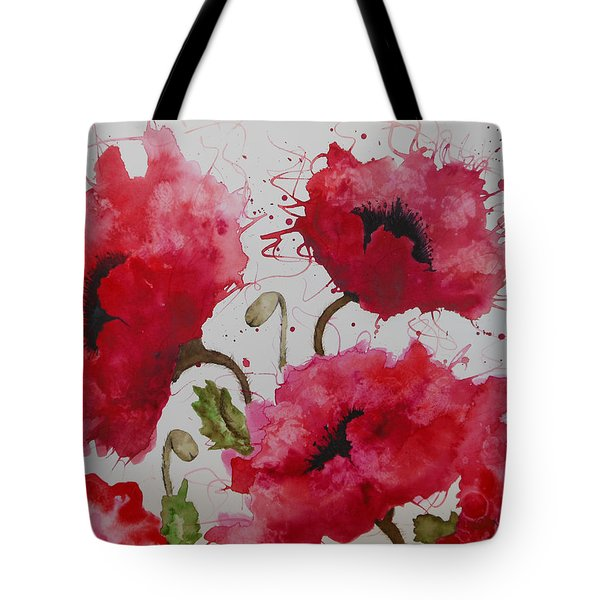 Tote Bag featuring the painting Party Poppies by Karen Kennedy Chatham
