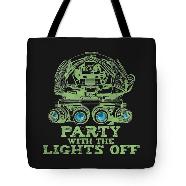 Tote Bag featuring the mixed media Party With The Lights Off by TortureLord Art