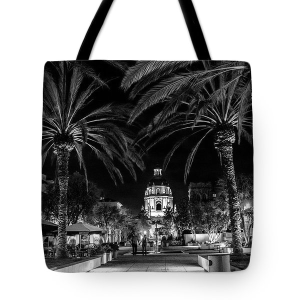 Tote Bag featuring the photograph Pasadena City Hall After Dark In Black And White by Randall Nyhof