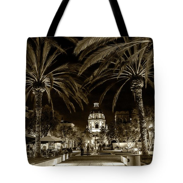 Tote Bag featuring the photograph Pasadena City Hall After Dark In Sepia Tone by Randall Nyhof