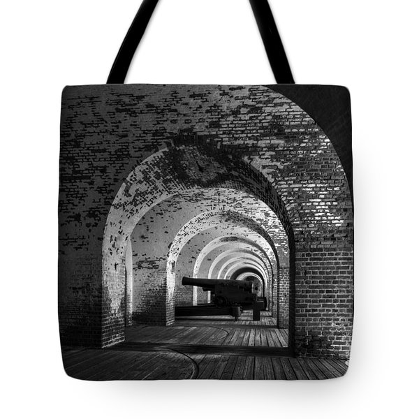 Passageways Of Fort Pulaski In Black And White Tote Bag