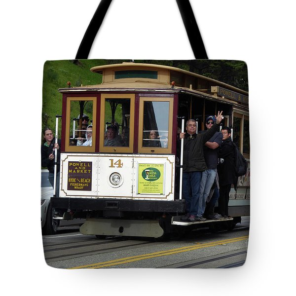 Passenger Waves From A Cable Car Tote Bag