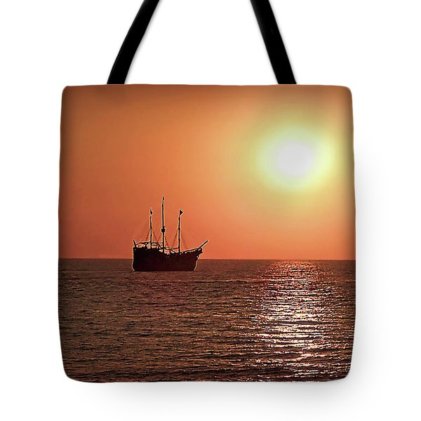 Tote Bag featuring the photograph Passing By In Calm Waters by Joan  Minchak
