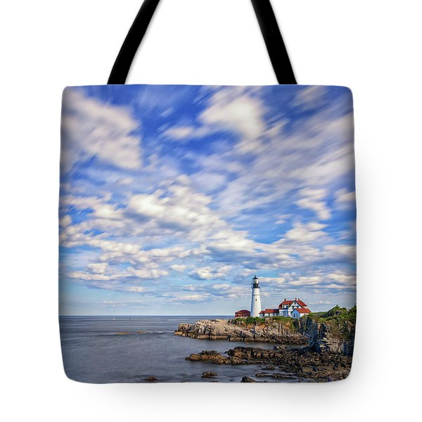 Passing Clouds At Portland Head Light Tote Bag