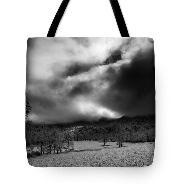 Passing Snow In North Carolina In Black And White Tote Bag by Greg Mimbs