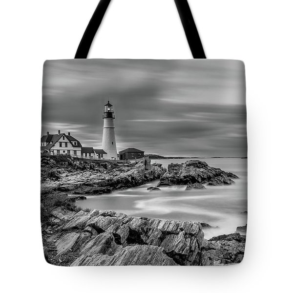 Passing Storm At Portland Head Light Tote Bag